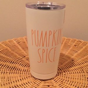 "Rae Dunn ""Pumpkin Spice"" insulated travel cup."